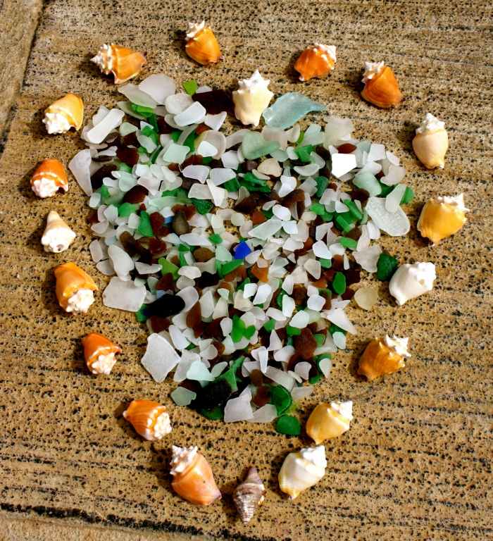 Sea Glass Amid Shell Heart