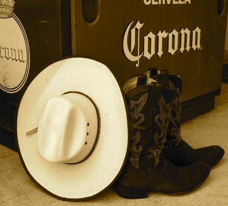 Cowboy Boots, Texas Man, Cowboy boots and a Corona, Corona Cooler,