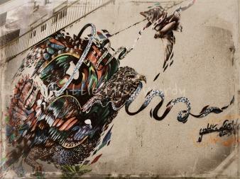 Bird In Flight, Ribbon Dance, Street Art, Puerto Rico, San Juan,