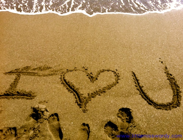 Beach, Sand Art, I Love You