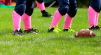 football, pee wee football, pink socks, think pink, breast cancer awareness